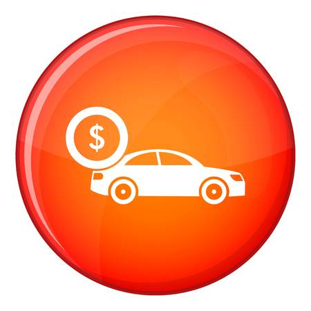 Car and dollar sign icon in red circle isolated on white background vector illustration