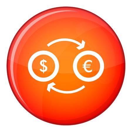 Euro dollar euro exchange icon in red circle isolated on white background vector illustration Illustration