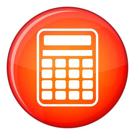 Calculator icon in red circle isolated on white background vector illustration