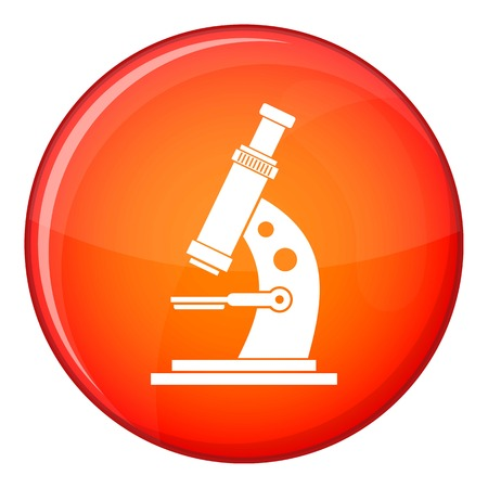 Microscope icon in red circle isolated on white background vector illustration