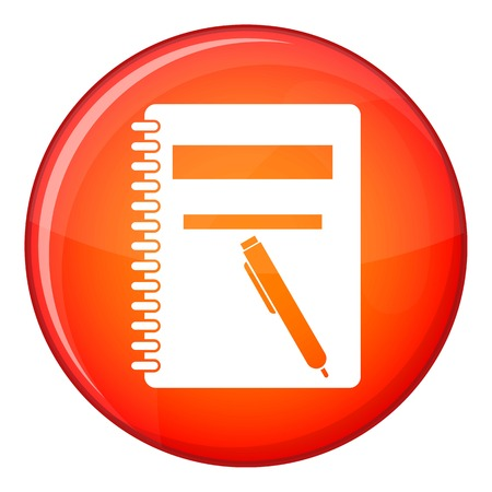 Closed spiral notebook and pen icon in red circle isolated on white background vector illustration Illustration