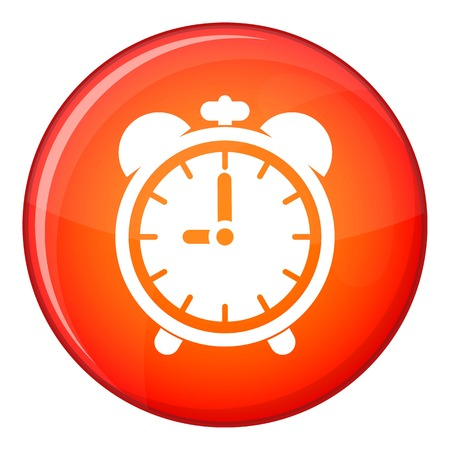 Alarm clock icon in red circle isolated on white background vector illustration