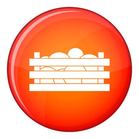 wooden crate: Watermelons in wooden crate icon in red circle isolated on white background vector illustration