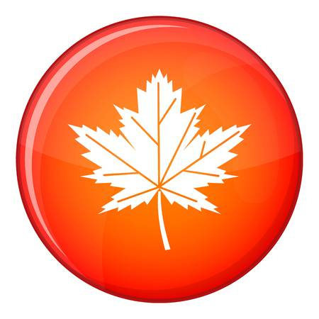 Maple leaf icon in red circle isolated on white background vector illustration