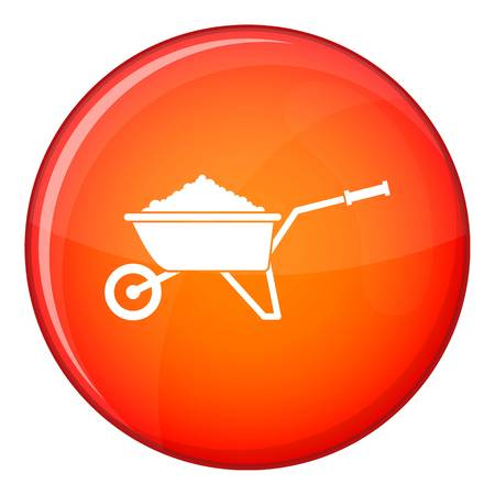 Wheelbarrow loaded with soil icon in red circle isolated on white background vector illustration