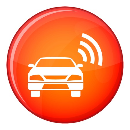 Car Transmission: Car with wifi sign icon in red circle isolated on white background vector illustration