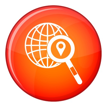 Globe, map pointer and magnifying glass icon in red circle isolated on white background vector illustration