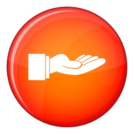 outstretched hand: Outstretched hand gesture icon in red circle isolated on white background vector illustration
