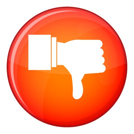 refusing: Thumb down gesture icon in red circle isolated on white background vector illustration Illustration