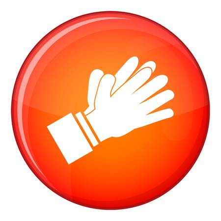 applauding: Clapping applauding hands icon in red circle isolated on white background vector illustration