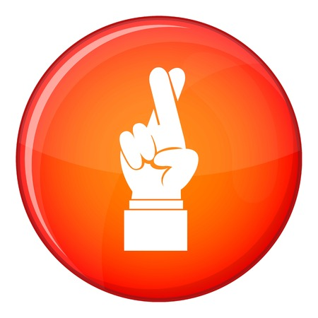 fingers crossed: Fingers crossed icon in red circle isolated on white background vector illustration