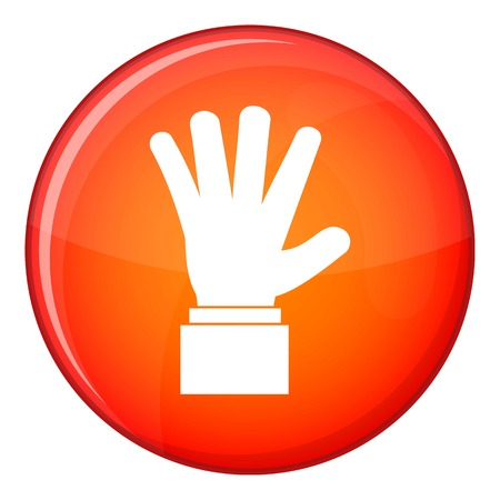 hi five: Hand showing five fingers icon in red circle isolated on white background vector illustration