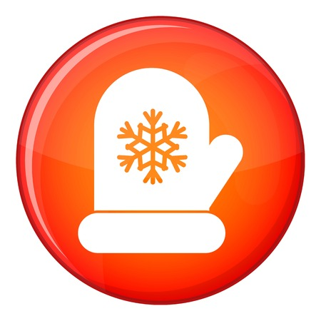 remote view: Mitten with white snowflake icon in red circle isolated on white background vector illustration