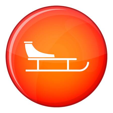 Sled icon in red circle isolated on white background vector illustration