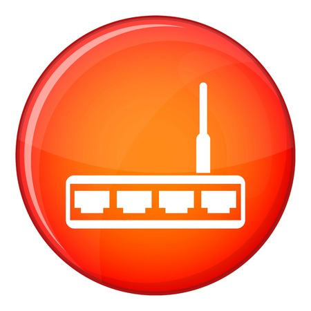 adsl: Router icon in red circle isolated on white background vector illustration
