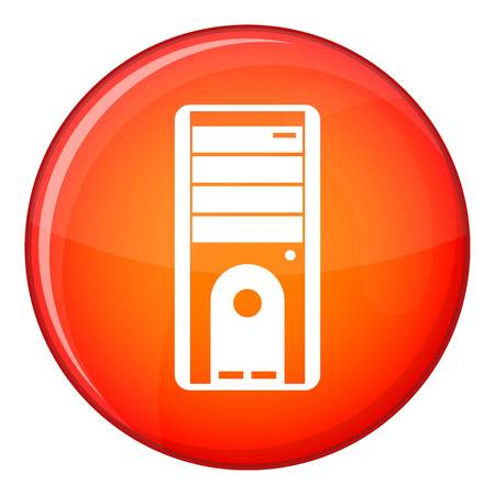 storage units: Computer system unit icon in red circle isolated on white background vector illustration