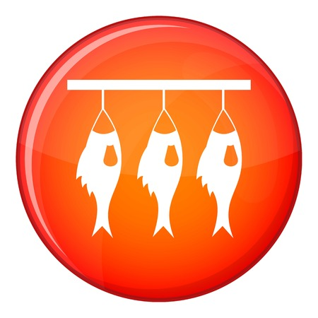 food preservation: Three dried fish hanging on a rope icon in red circle isolated on white background vector illustration Illustration