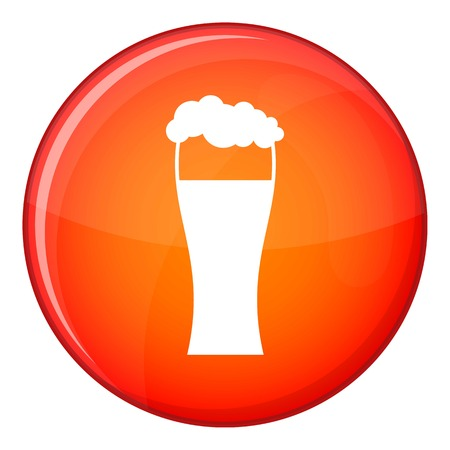 Glass of beer icon in red circle isolated on white background vector illustration