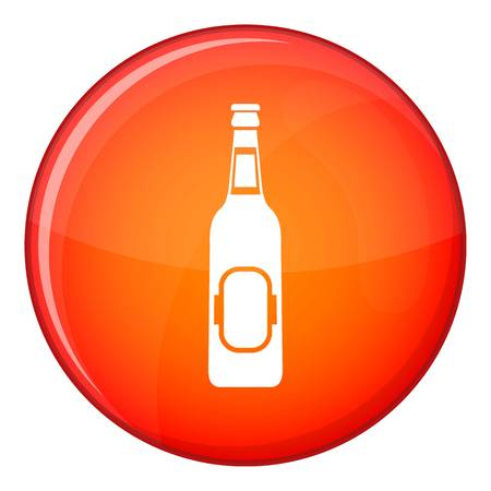 Bottle of beer icon in red circle isolated on white background vector illustration Illustration