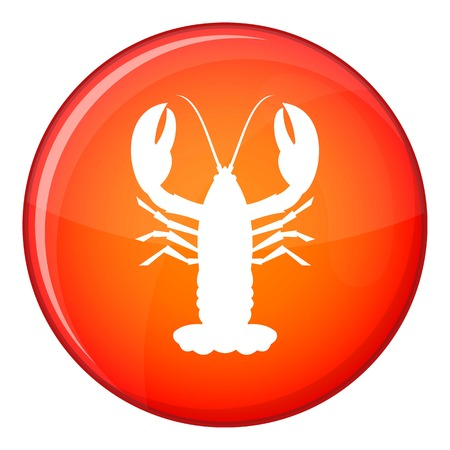 Crayfish icon in red circle isolated on white background vector illustration