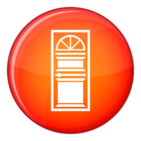 arched: Door with an arched glass icon in red circle isolated on white background vector illustration Illustration
