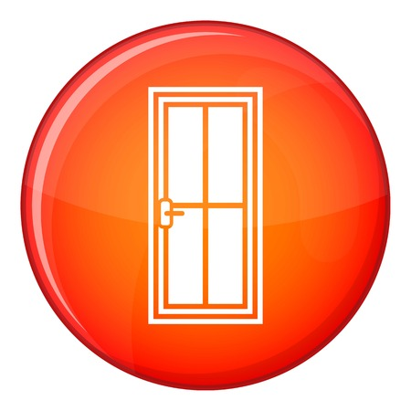 knocking: Closed wooden door icon in red circle isolated on white background vector illustration Illustration