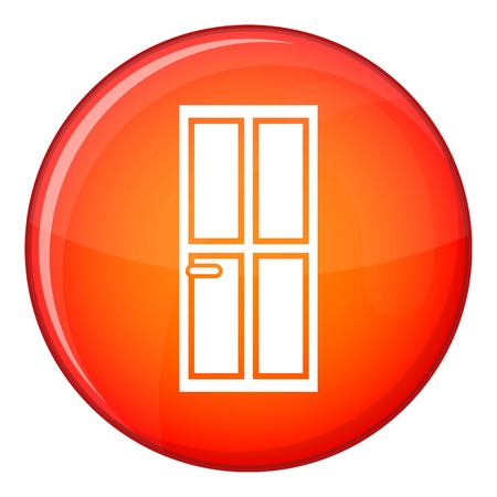 Glass door icon in red circle isolated on white background vector illustration Illustration