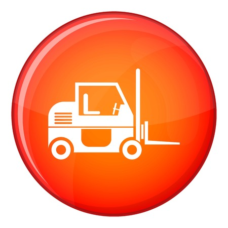 Forklift icon in red circle isolated on white background vector illustration Illustration