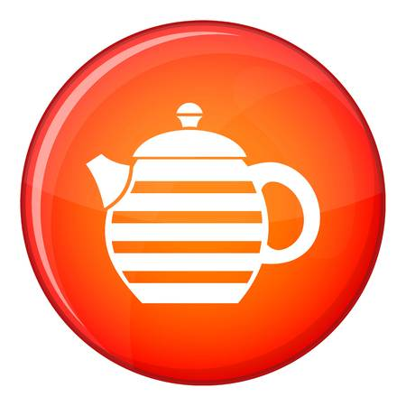 Striped teapot icon in red circle isolated on white background vector illustration Illustration