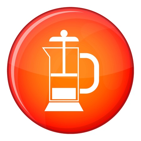 decanter: French press coffee maker icon in red circle isolated on white background vector illustration Illustration