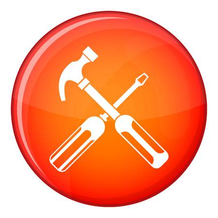 Hammer and screwdriver icon in red circle isolated on white background vector illustration Illustration