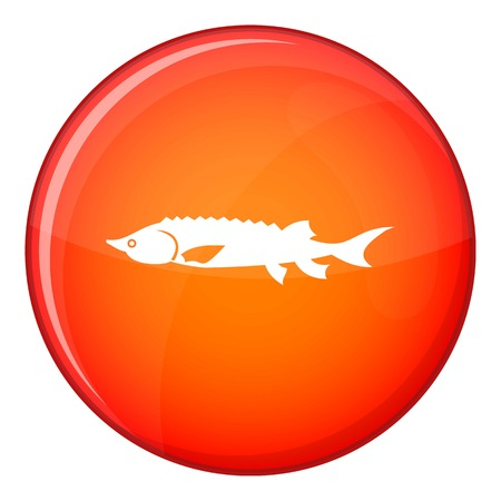 Fresh sturgeon fish icon in red circle isolated on white background vector illustration