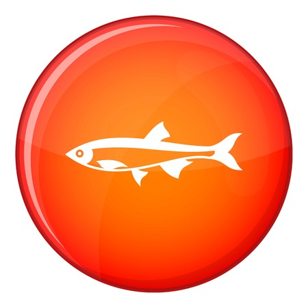 pilchard: Herring fish icon in red circle isolated on white background vector illustration Illustration