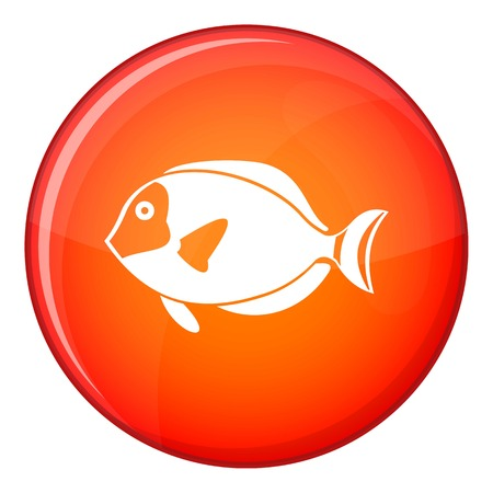paracanthurus: Surgeon fish icon in red circle isolated on white background vector illustration