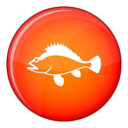 redfish: Rose fish, Sebastes norvegicus icon in red circle isolated on white background vector illustration