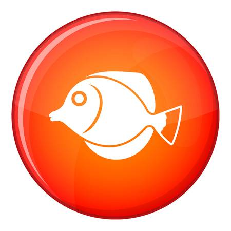 rock salt: Tang fish, Zebrasoma flavescens icon in red circle isolated on white background vector illustration Illustration