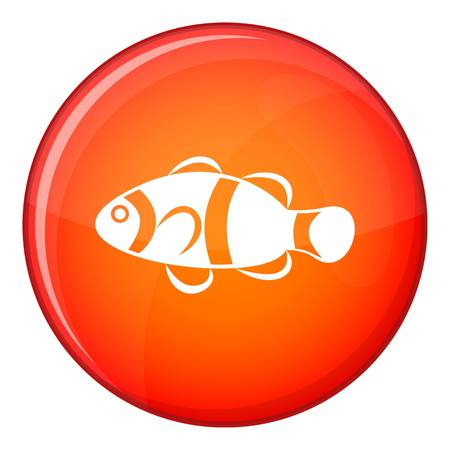 anemonefish: Cute clown fish icon in red circle isolated on white background vector illustration