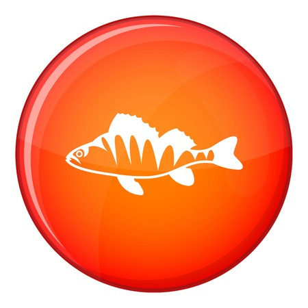 coldblooded: European perch, Perca fluviatilis icon in red circle isolated on white background vector illustration