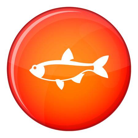 scardinius: Rudd fish icon in red circle isolated on white background vector illustration