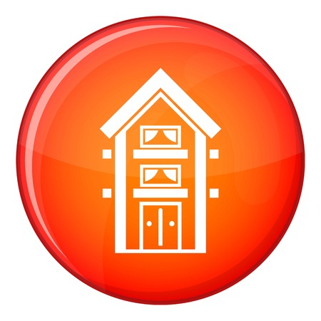 Two-storey house with balconies icon in red circle isolated on white background vector illustration