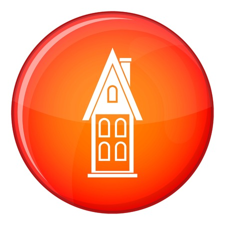 two storey house: Two storey house with attic icon in red circle isolated on white background vector illustration