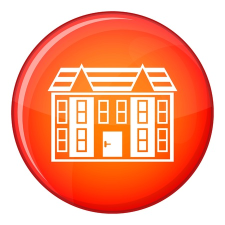 Large two-storey house icon in red circle isolated on white background vector illustration Illustration