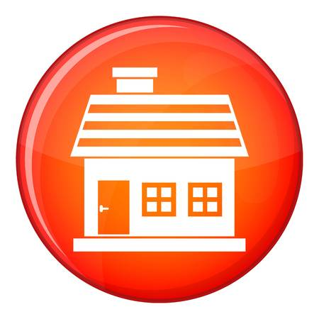 storey: One-storey house icon in red circle isolated on white background vector illustration