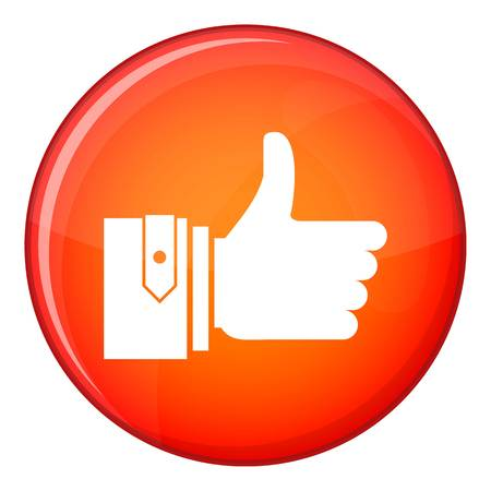 Thumbs up icon in red circle isolated on white background vector illustration