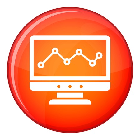 delineate: Graph in computer screen icon in red circle isolated on white background vector illustration Illustration