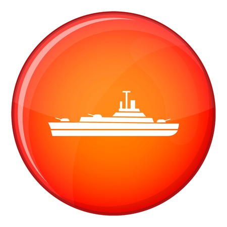 corvette: Warship icon in red circle isolated on white background vector illustration