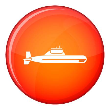 Submarine icon in red circle isolated on white background vector illustration