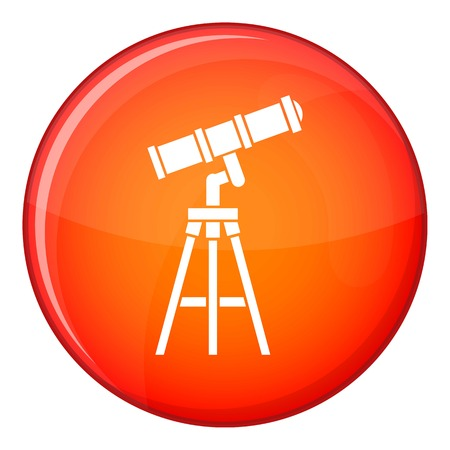 Telescope icon in red circle isolated on white background vector illustration