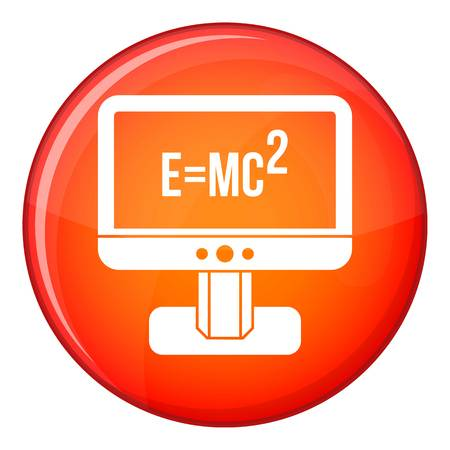 Monitor with Einstein formula icon in red circle isolated on white background vector illustration