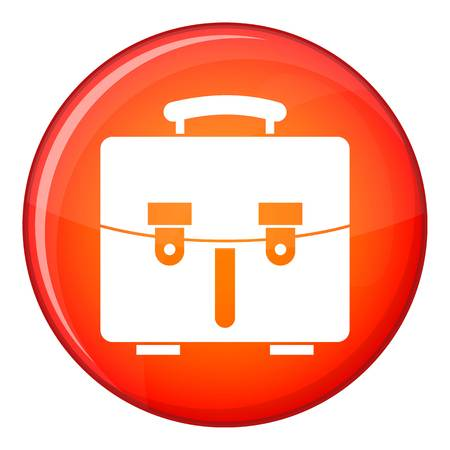 Diplomat bag icon in red circle isolated on white background vector illustration